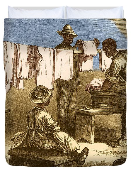 Slaves In Union Camp Duvet Cover by Photo Researchers