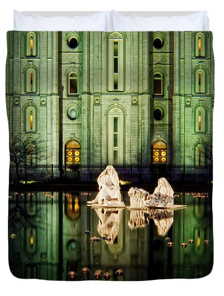 Slc Temple Nativity Duvet Cover by La Rae  Roberts