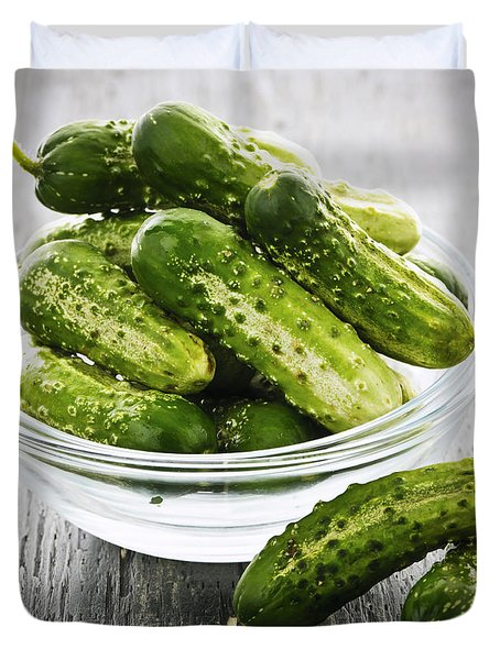 Small Cucumbers In Bowl Duvet Cover by Elena Elisseeva