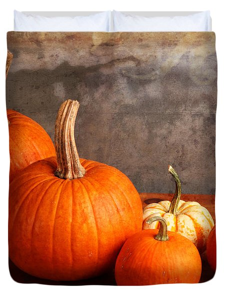 Duvet Cover featuring the photograph Small Decorative Pumpkins by Verena Matthew