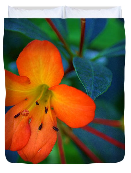 Duvet Cover featuring the photograph Small Orange Flower by Tikvah's Hope