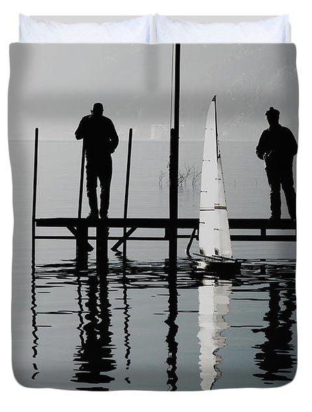 Small Sailing Boat Duvet Cover by Mats Silvan