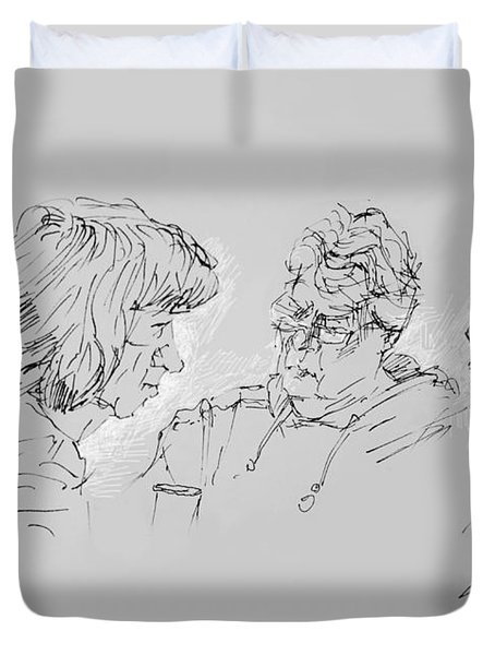 Small Talk  Over Coffee Duvet Cover by Ylli Haruni