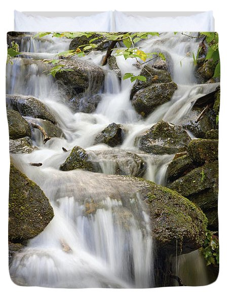 Small Waterfalls And Brook West Bolton Duvet Cover by David Chapman
