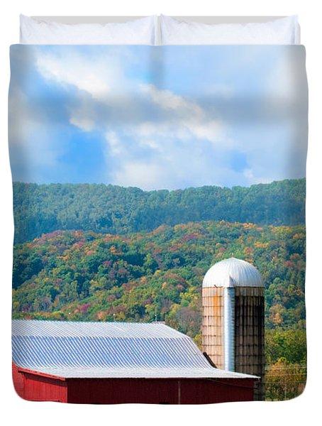 Smokie Mountain Barn Duvet Cover by Betty LaRue