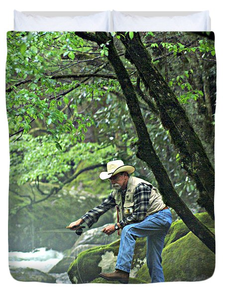 Smoky Mountain Angler Duvet Cover by Marty Koch