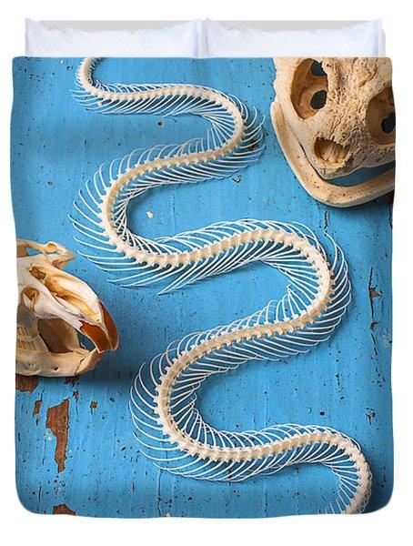 Snake Skeleton And Animal Skulls Duvet Cover