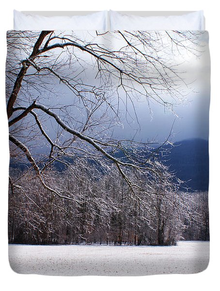 Duvet Cover featuring the photograph Snow And Ice by Paul Mashburn
