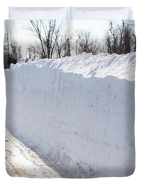 Snow By The Roadside Duvet Cover by Ted Kinsman