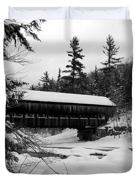Snow Covered Bridge Duvet Cover