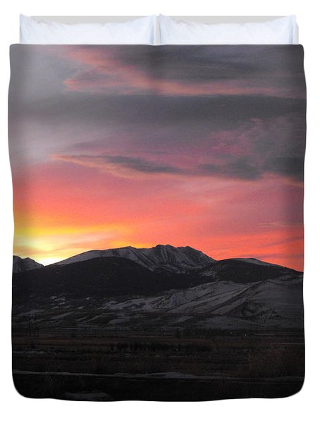 Snow Covered Mountain Sunset Duvet Cover by Adam Cornelison