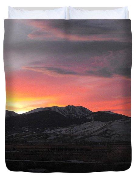 Snow Covered Mountain Sunset Duvet Cover