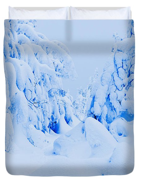 Snow-covered To Vallee Des Fantomes Duvet Cover by Yves Marcoux