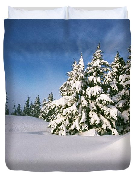 Snow Covered Trees In The Oregon Duvet Cover by Natural Selection Craig Tuttle