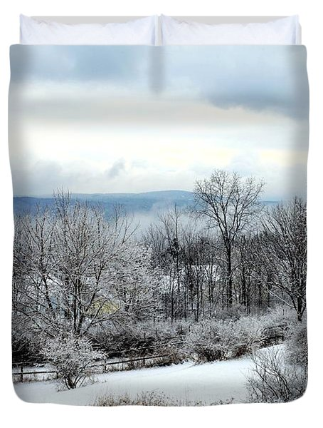 Snow In Winter Ithaca New York Duvet Cover by Paul Ge