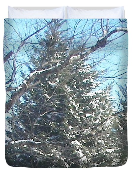 Duvet Cover featuring the photograph Snow Sprinkled Pine by Pamela Hyde Wilson