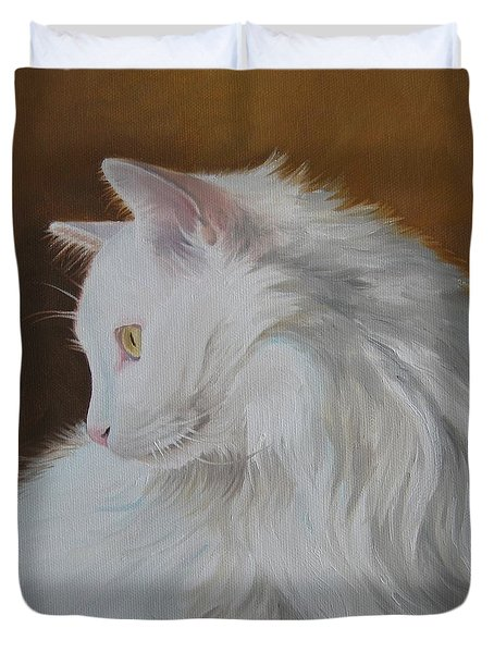 Duvet Cover featuring the painting Snowball by Jindra Noewi