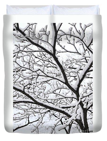 Snowy Branch Duvet Cover by Elena Elisseeva