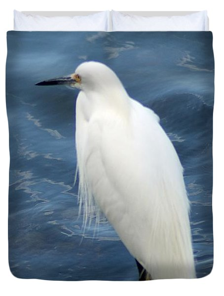 Snowy Egret 1 Duvet Cover by Joe Faherty