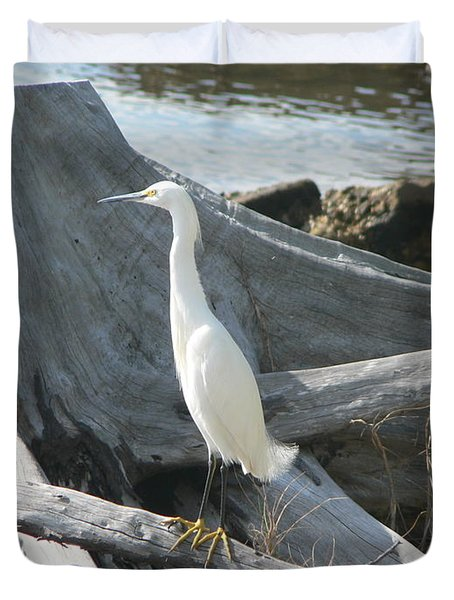 Duvet Cover featuring the photograph Snowy Egret by Laurel Best