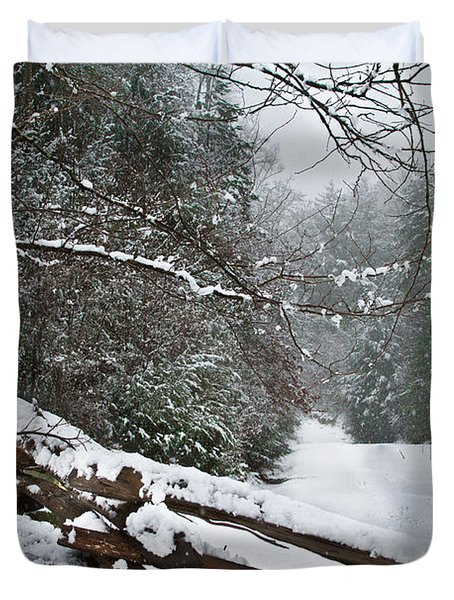 Snowy Fence Duvet Cover by Debra and Dave Vanderlaan