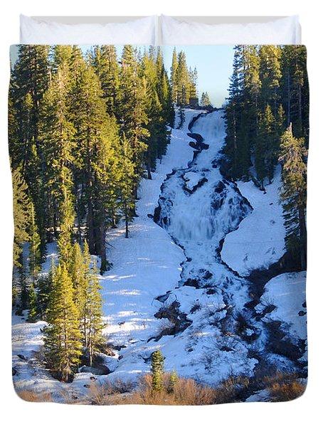Duvet Cover featuring the photograph Snowy Heart Falls by Lynn Bauer