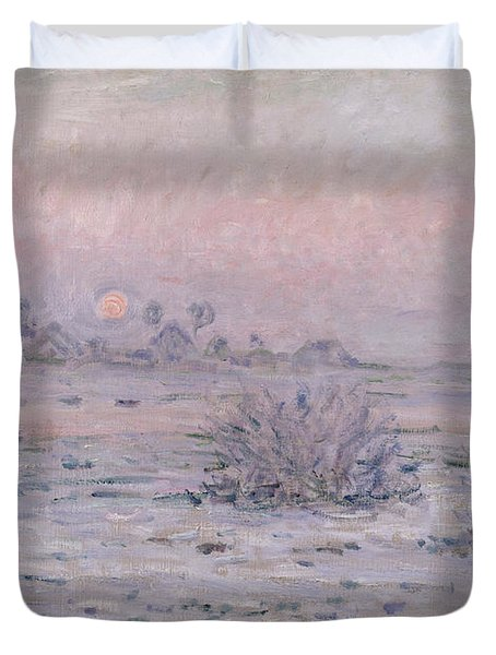 Snowy Landscape At Twilight Duvet Cover by Claude Monet