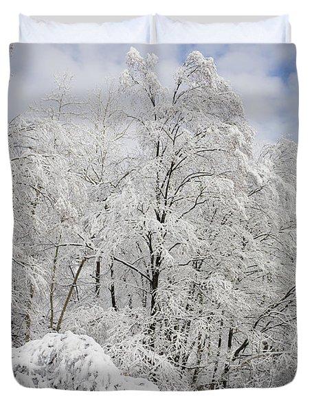Snowy Landscape Duvet Cover by Len Rue Jr and Photo Researchers