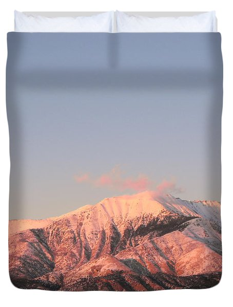 Snowy Mountain At Sunset Duvet Cover by Adam Cornelison