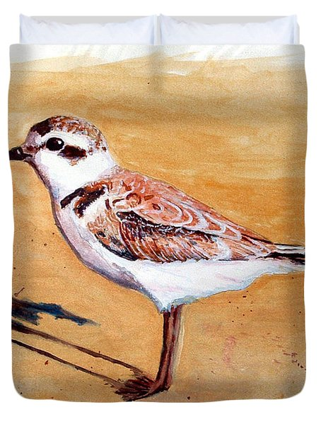Duvet Cover featuring the painting Snowy Plover by Chriss Pagani
