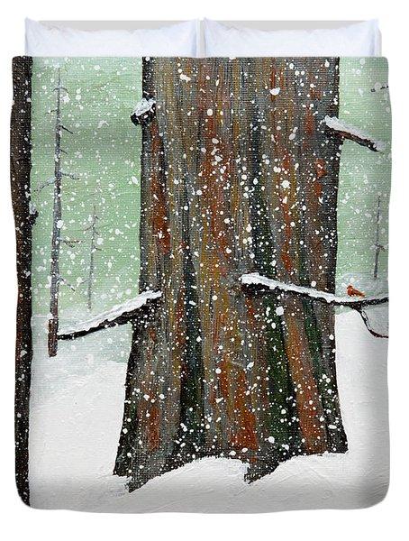 Snowy Redwood Duvet Cover