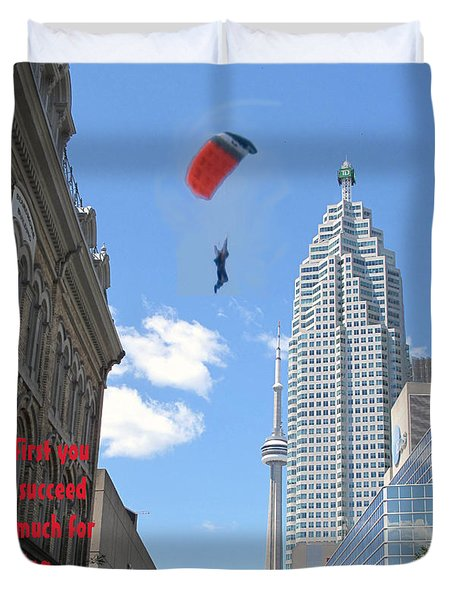 So Much For Skydiving Duvet Cover by Ian  MacDonald