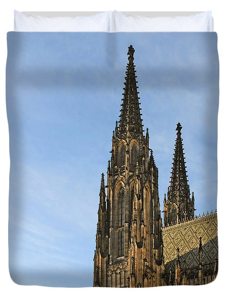 Soaring Spires Saint Vitus' Cathedral Prague Duvet Cover by Christine Till
