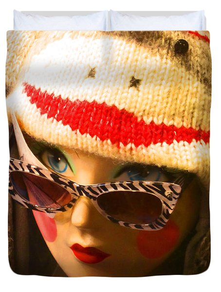 Sock Monkey Zebra Glasses Duvet Cover by Kym Backland