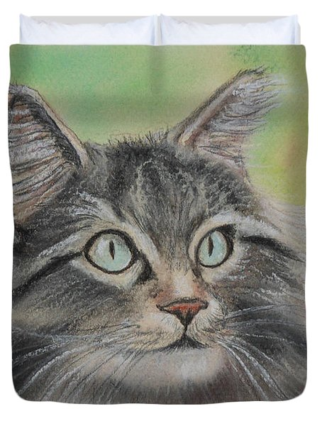 Soft Kitty Duvet Cover by Julie Brugh Riffey