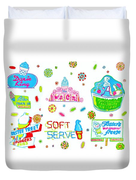 Duvet Cover featuring the painting Soft Serve by Beth Saffer