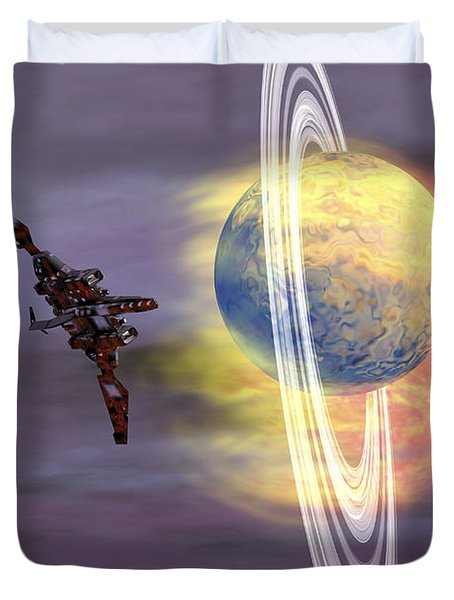 Solar Winds Hit A Ringed Planet Duvet Cover by Corey Ford