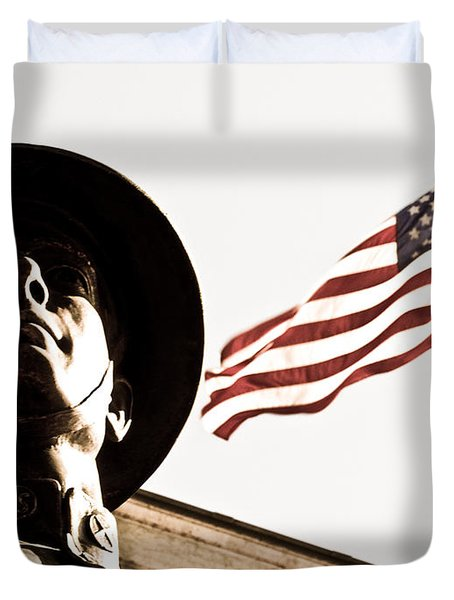 Soldier And Flag Duvet Cover by Syed Aqueel