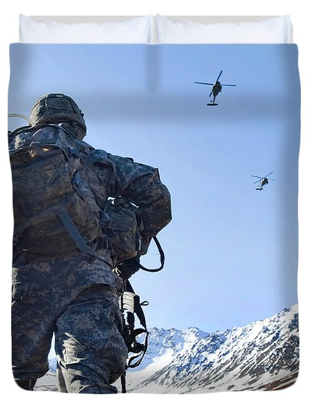 Soldier Patrols Through Alaska's Duvet Cover by Stocktrek Images