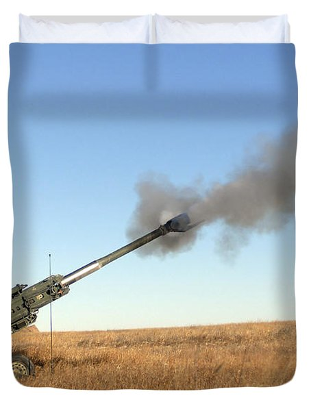 Soldiers Fire A 155mm M777 Lightweight Duvet Cover by Stocktrek Images