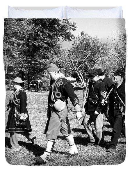 Soldiers March Black And White IIi Duvet Cover by LeeAnn McLaneGoetz McLaneGoetzStudioLLCcom
