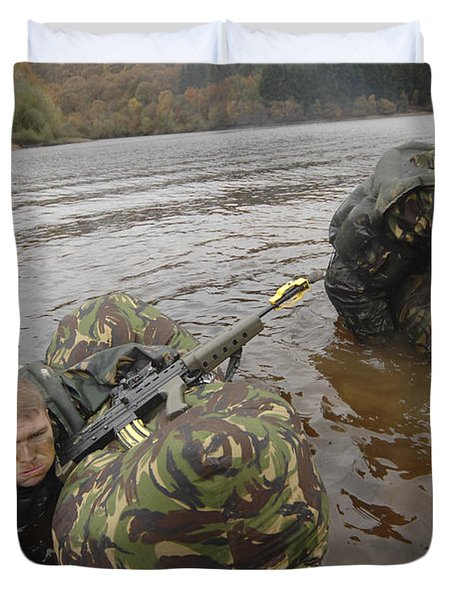 Soldiers Participate In A River Duvet Cover by Andrew Chittock
