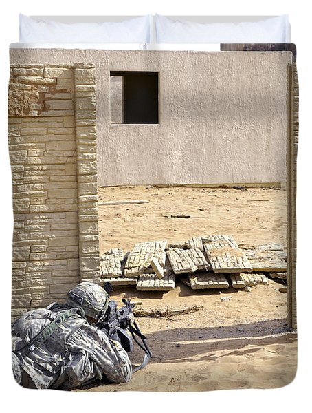 Soldiers Pull Security At A Mock Afghan Duvet Cover by Stocktrek Images