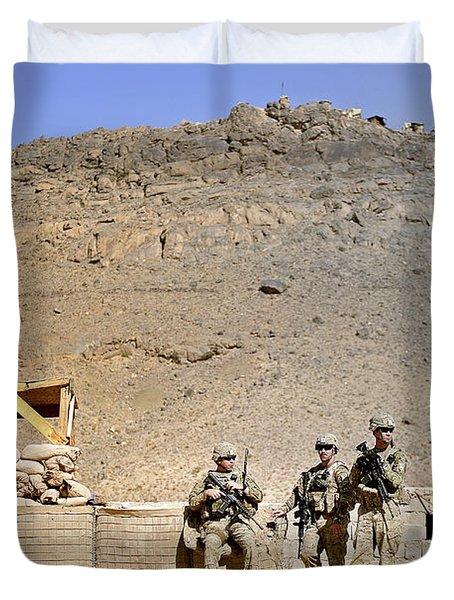 Soldiers Wait For Afghan National Duvet Cover by Stocktrek Images