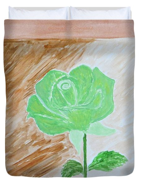 Duvet Cover featuring the painting Solitary Rose by Sonali Gangane