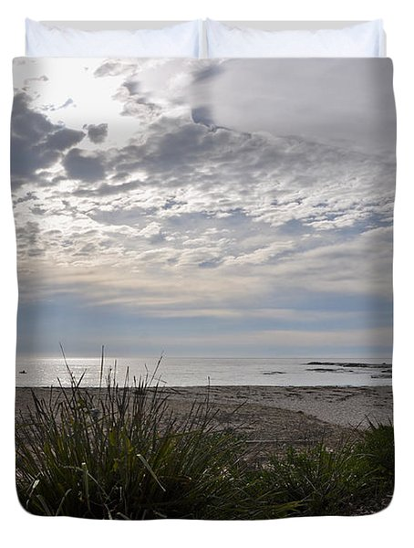 Solitary Sea Kayak At Dawn In Australia Duvet Cover