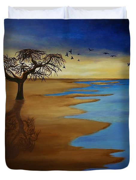 Duvet Cover featuring the painting Solitude by Michelle Joseph-Long