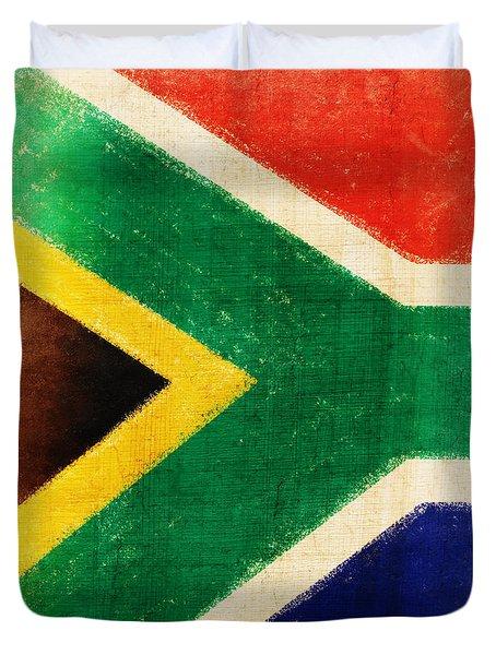 South Africa Flag Duvet Cover by Setsiri Silapasuwanchai