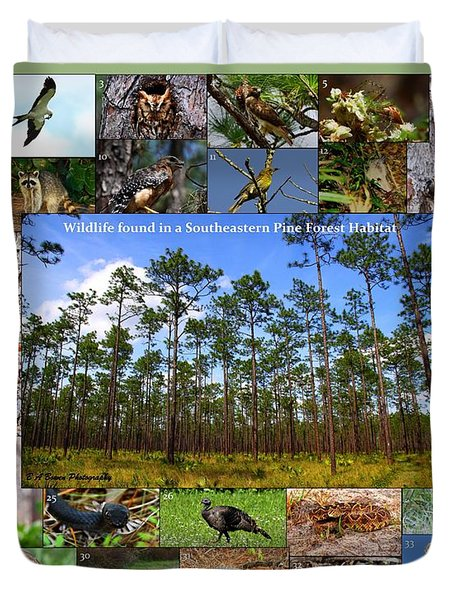 Southeastern Pine Forest Wildlife Poster Duvet Cover