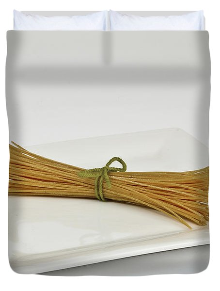 Soybean Spaghetti Duvet Cover by Photo Researchers